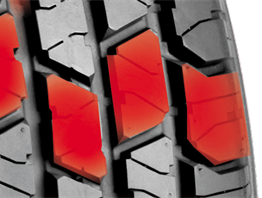 Squared-off block tread elements